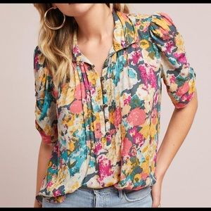 Anthropology Maeve Printed Henley Blouse Size 6P